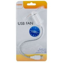 4World USB Fan Clock Silent Wave Silver