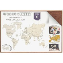 Wooden City Puzzle World map size XL color...