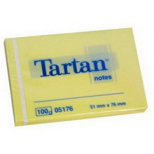 3M Märkmepaber Tartan 51x76mm, kollane, 100l