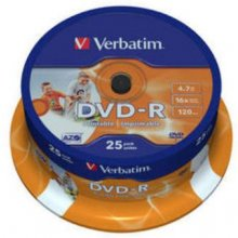 Диски Verbatim DVD-R 4,7GB 25pcs Pack...