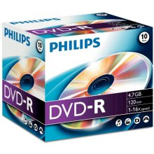 Диски Philips 10 x DVD-R, 4.7GB/120min, 16x...