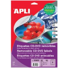 Apli Etiketid CD/DVD 117mm, 25l/pk, matt