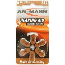 Ansmann 1x6 Zinc-Air 312 (PR 41) Hearing Aid...
