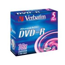Диски Verbatim DVD-R [ 5pcs, 4.7GB, 16x...