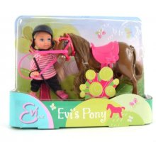 SIMBA EVI Pony Lalka z Koniem, ciemny brąz