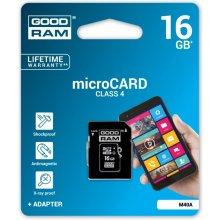 Флешка GOODRAM microSDHC 16GB CL4 + адаптер
