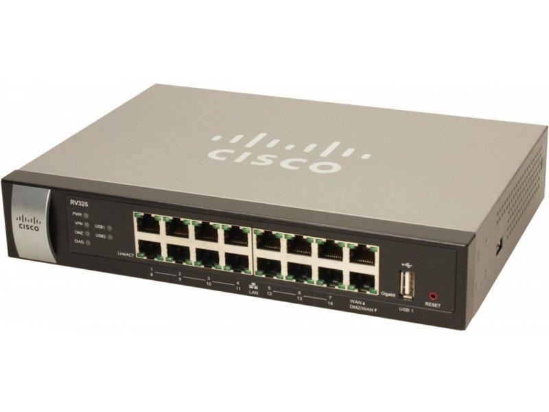 CISCO RV325, 10, 100, 1000, 10/100/1000Base-T(X), Ethernet (RJ-45), 2 0,  IEEE 802 1Q, IEEE 802 3, IEEE 802 3u, RIP-1, RIP-2
