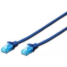 DIGITUS Cable patch UTP, CAT.5E, blue, 0.25m