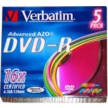 Диски Verbatim 1x5 DVD-R 4,7GB Colour 16x...
