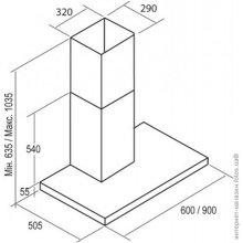 Вытяжка CATA Wall hood, 635-1035 x 600 x 505...