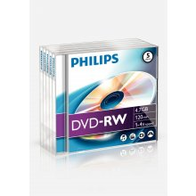 Диски Philips 5x DVD-RW, 4.7GB/120min, 4x...