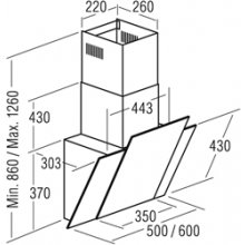 Вытяжка CATA Wall hood, 860-1260 x 500 x...