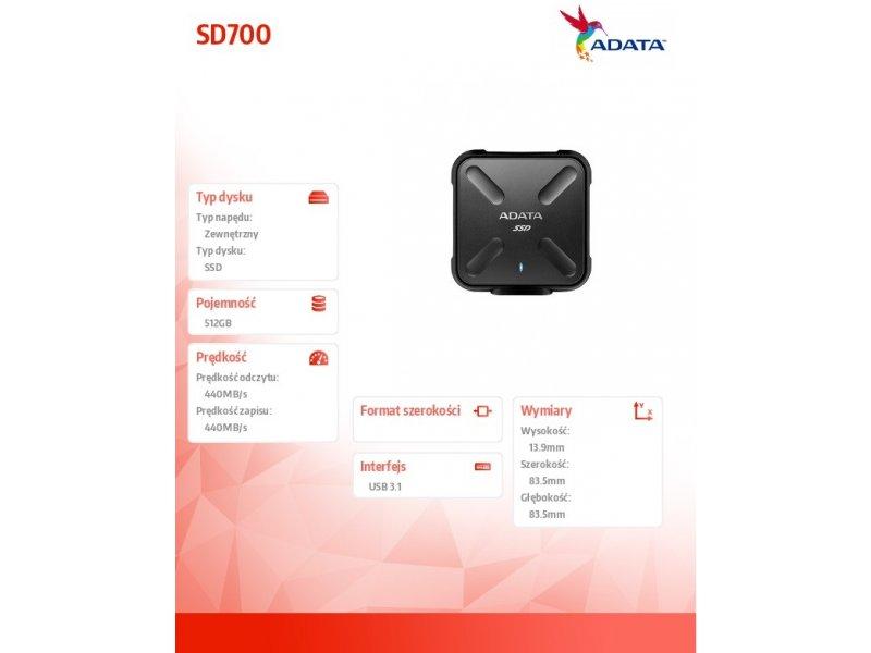cf72131d2fb Kõvaketas ADATA väline SSD SD700 512 GB, USB... Tootefotod võivad olla  illustratiivse tähendusega
