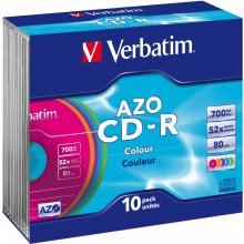 Диски Verbatim CD-R slim Color (10)
