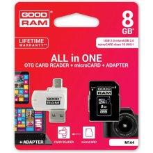Флешка GOODRAM microSDHC 8GB CL10 + адаптер...