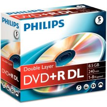 Diskid Philips DVD+R 8,5GB 5pcs jewel carton...