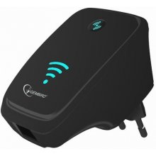 Gembird WiFi repeater, 300 Mbps + LAN, black