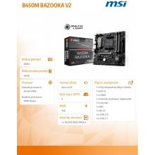 Emaplaat MSI B450M BAZOOKA V2, AM4, 4xDDR4...