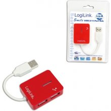 LogiLink USB 2.0 Hub 4-Port, Smile, красный