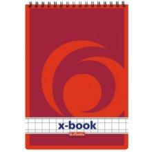 HERLITZ Блокнот А7 50л X.Book клетка красный