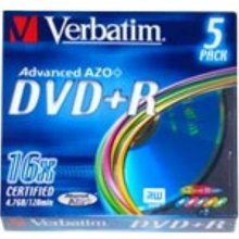 Диски Verbatim DVD+R slim Color (5)
