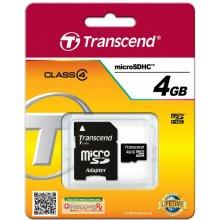 Mälukaart Transcend microSDHC 4GB Class 4 +...