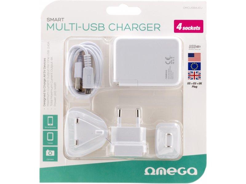 388756280b0 OMEGA USB laadija 4xUSB US/EU/UK + kaabel, valge (42674) - OX.ee