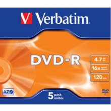Toorikud Verbatim 1x5 DVD-R 4,7GB 16x Speed...